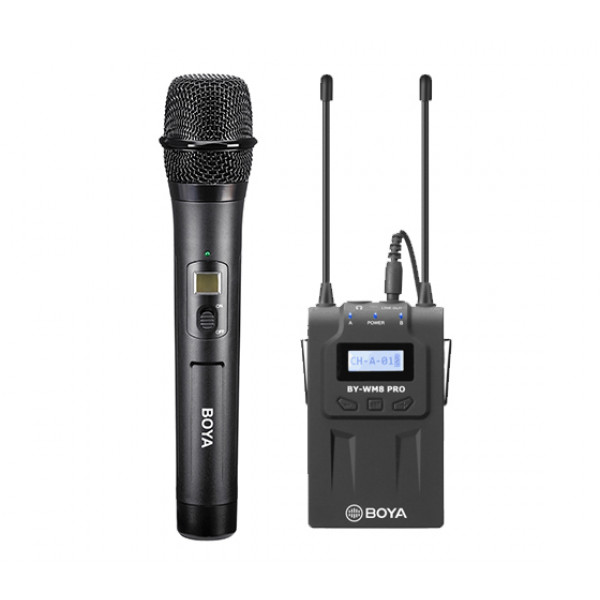 SET: BOYA Wireless set of microphone (BY-WHM8 PRO) + receiver (BY-RX8 PRO)