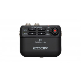 ZOOM F2 audio recorder with lavalier mic.